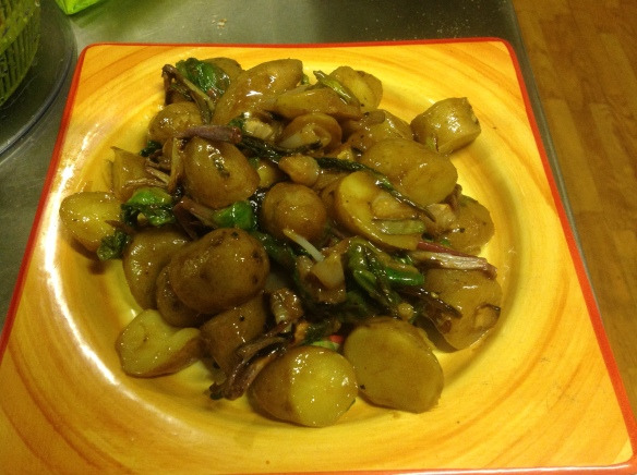 A salad of fingerling potatoes and grilled ramps. If you can't find ramps, grilled scallions are a great substitute.