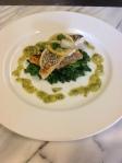 Sauteed Sea Bass with Lemon Confit-Garlic Scape Gremolata.