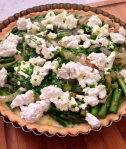 Asparagus, Onion and Goat Cheese Tart ready to go in the oven